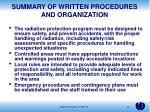 summary of written procedures and organization