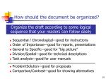 how should the document be organized