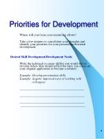 priorities for development