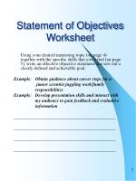 statement of objectives worksheet