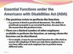 essential functions under the americans with disabilities act ada