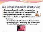 job responsibilities worksheet