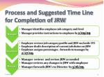 process and suggested time line for completion of jrw