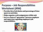 purpose job responsibilities worksheet jrw