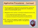 application procedures continued