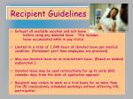 recipient guidelines