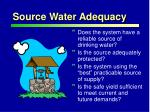 source water adequacy