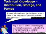 technical knowledge distribution storage and pumps