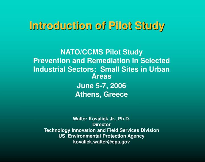 introduction of pilot study n.