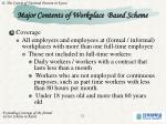major contents of workplace based scheme