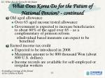 what does korea do for the future of national pension continued