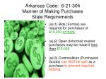arkansas code 6 21 304 manner of making purchases state requirements