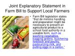 joint explanatory statement in farm bill to support local farmers
