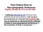 past federal rule for non geographic preference