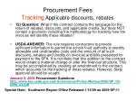 procurement fees tracking applicable discounts rebates