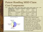 patient handling msd claim cost components