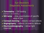 eye disorders diagnostic assessments