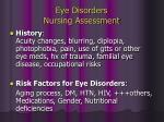 eye disorders nursing assessment