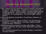 sample eye assessment note