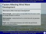 factors affecting wind wave development