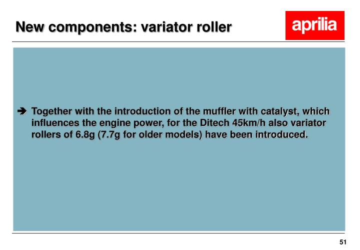 New components: variator roller