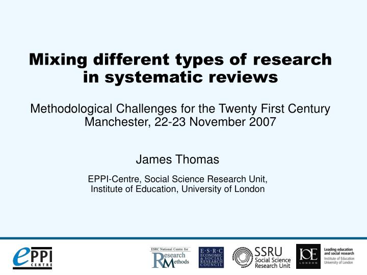 james thomas eppi centre social science research unit institute of education university of london n.