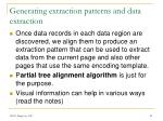 generating extraction patterns and data extraction