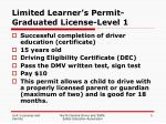 limited learner s permit graduated license level 1