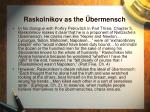 raskolnikov as the bermensch
