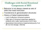 challenges with social emotional components of rti