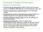 continuum of support for secondary tertiary level systems