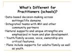 what s different for practitioners schools