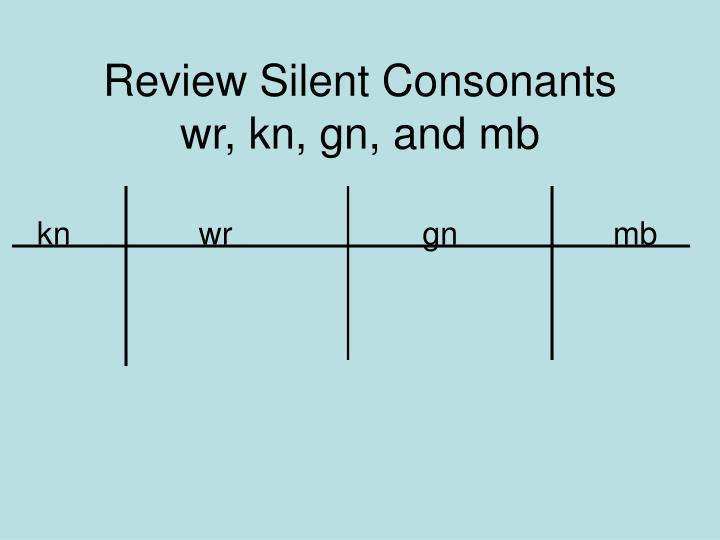 review silent consonants wr kn gn and mb n.