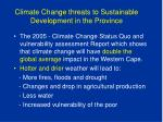 climate change threats to sustainable development in the province