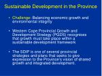 sustainable development in the province