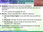 individuals with a greater frequency of llr may be a greater risk for sr