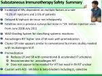 subcutaneous immunotherapy safety summary