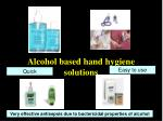 alcohol based hand hygiene solutions