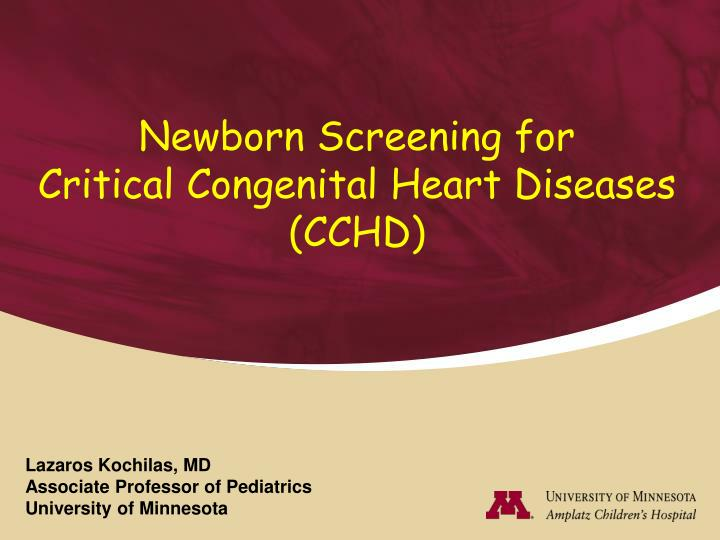 newborn screening for critical congenital heart diseases cchd n.