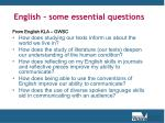 english some essential questions