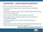 humanities some essential questions