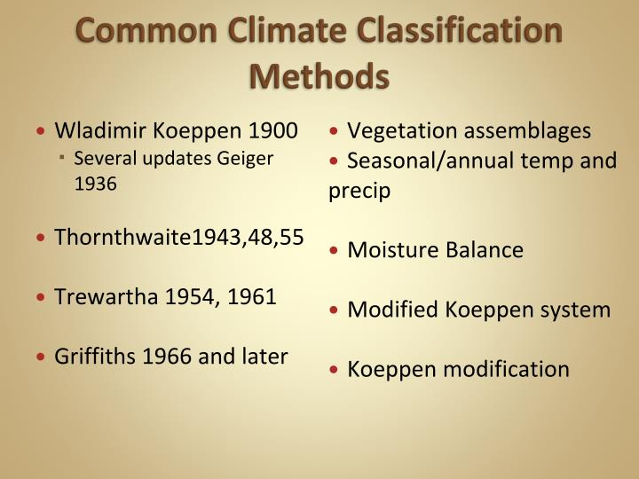 common climate classification methods n.