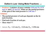 dalton s law using mole fractions 1 of 2