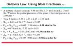 dalton s law using mole fractions 2 of 2