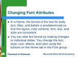 changing font attributes