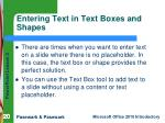 entering text in text boxes and shapes