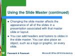 using the slide master continued2