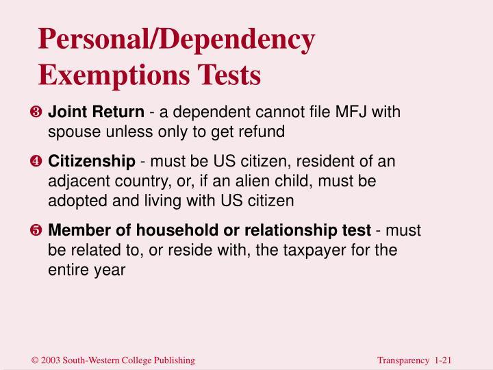 Personal/Dependency