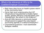 what is the relevance of hies to the coalition employer community