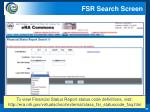 fsr search screen